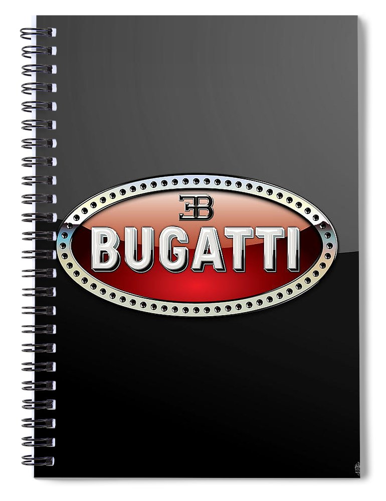 �wheels Of Fortune� Collection By Serge Averbukh Spiral Notebook featuring the photograph Bugatti - 3 D Badge on Black by Serge Averbukh
