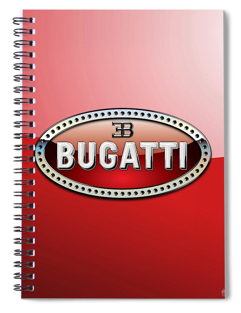 �wheels Of Fortune� Collection By Serge Averbukh Spiral Notebook featuring the photograph Bugatti - 3 D Badge on Red by Serge Averbukh