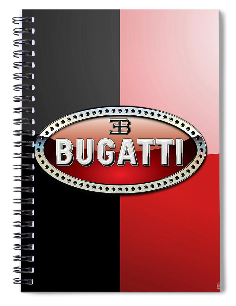 Wheels Of Fortune By Serge Averbukh Spiral Notebook featuring the photograph Bugatti 3 D Badge on Red and Black by Serge Averbukh