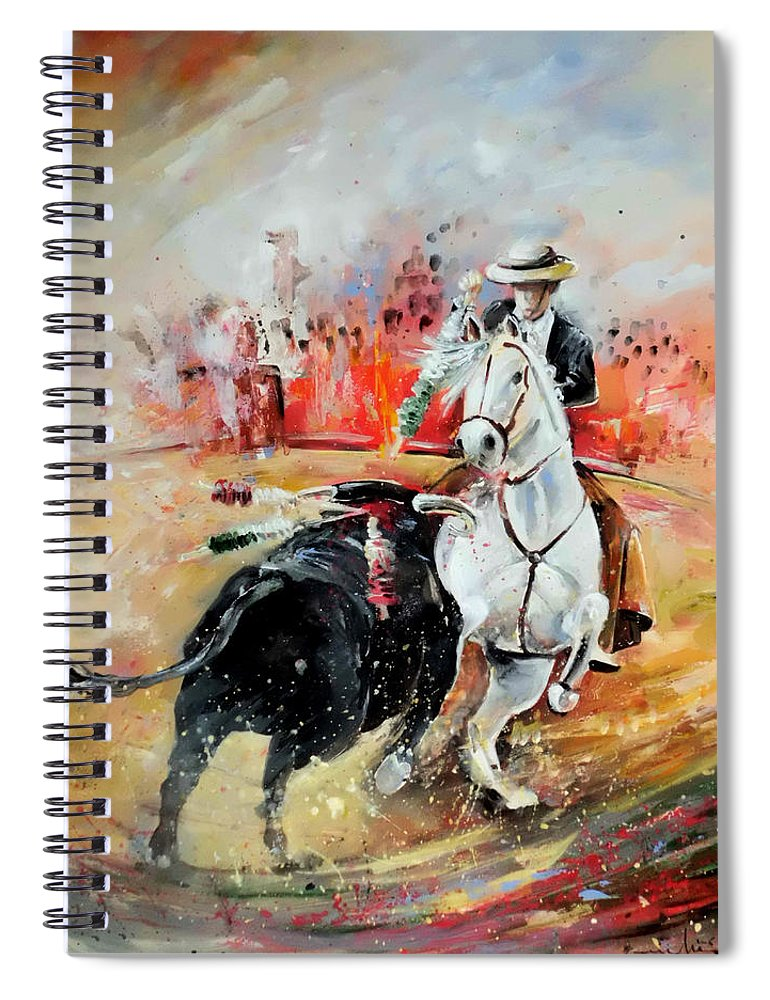 Toros Spiral Notebook featuring the painting Bullfight 3 by Miki De Goodaboom