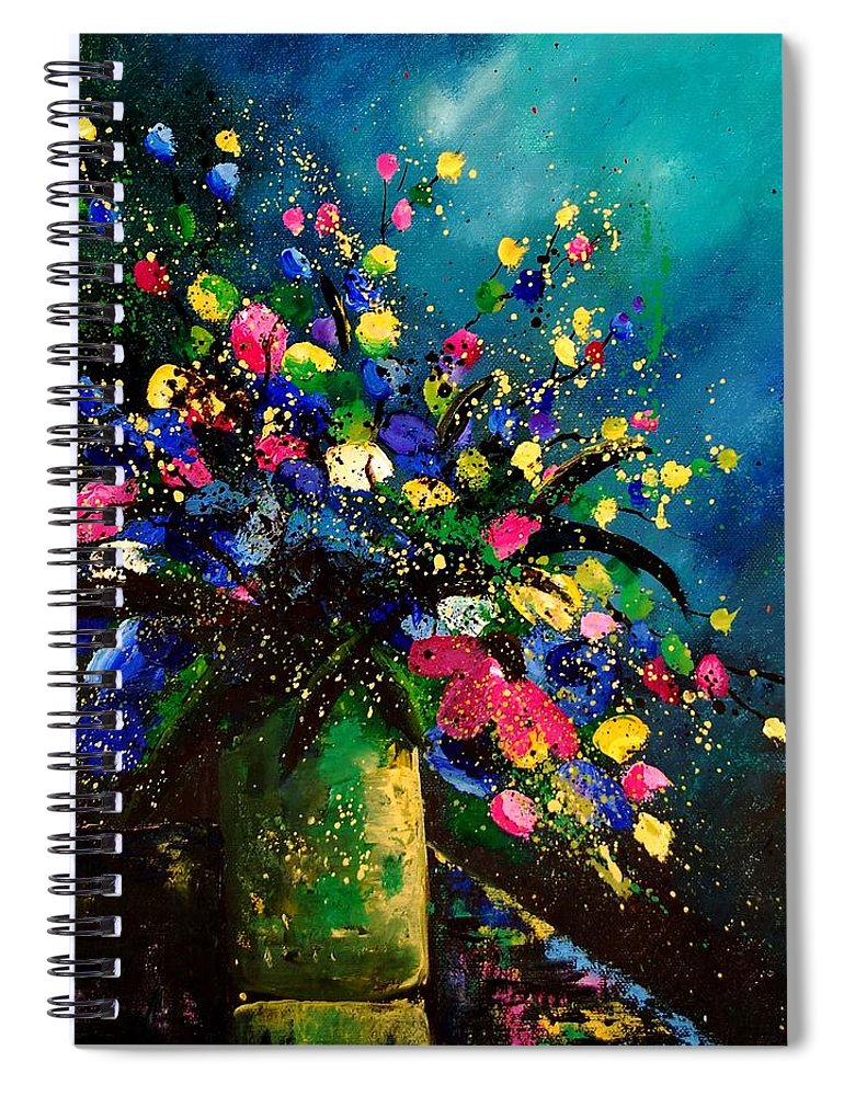 Poppies Spiral Notebook featuring the painting Bunch 45 by Pol Ledent