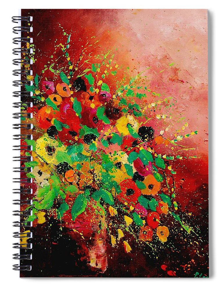Flowers Spiral Notebook featuring the painting Bunch of flowers 0507 by Pol Ledent