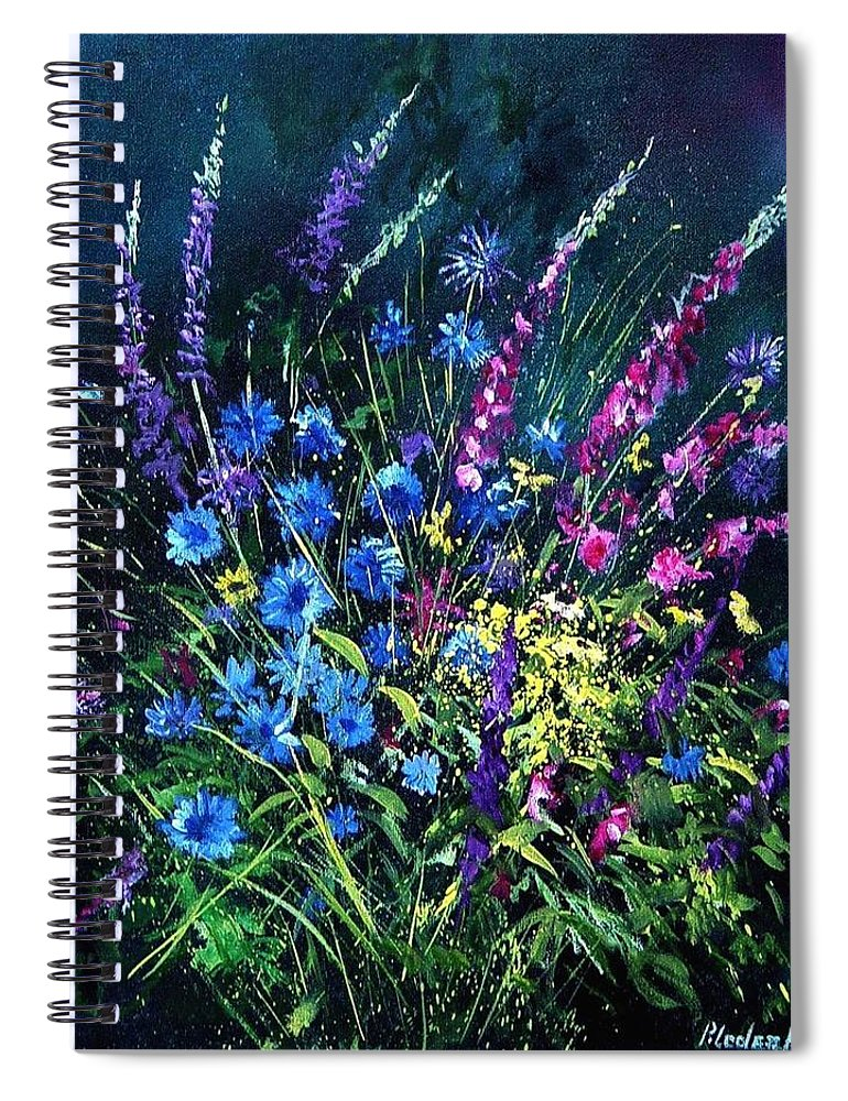 Poppies Spiral Notebook featuring the painting Bunch Of Wild Flowers by Pol Ledent