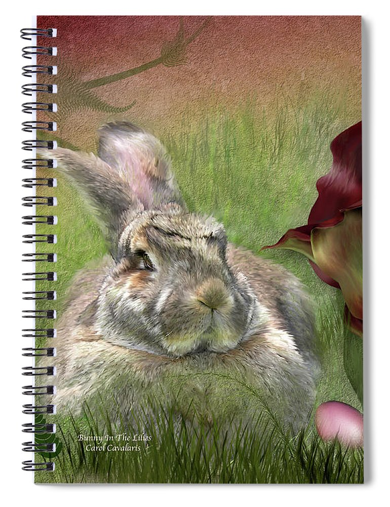 Bunny Spiral Notebook featuring the mixed media Bunny In The Lilies by Carol Cavalaris