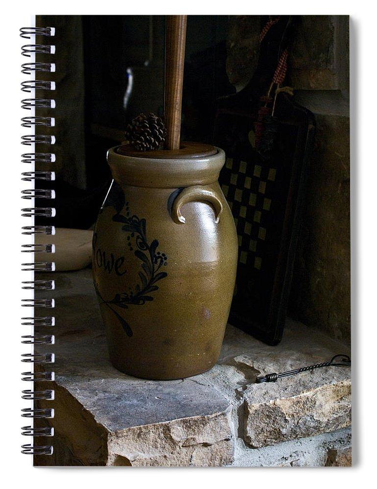 Butter Spiral Notebook featuring the photograph Butter Churn on Hearth Still Life by Douglas Barnett