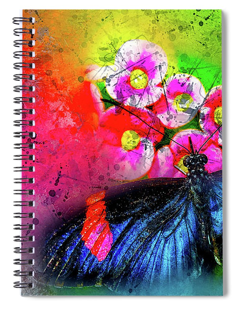Abstract Spiral Notebook featuring the photograph Butterfly Color Explosion by Kay Brewer