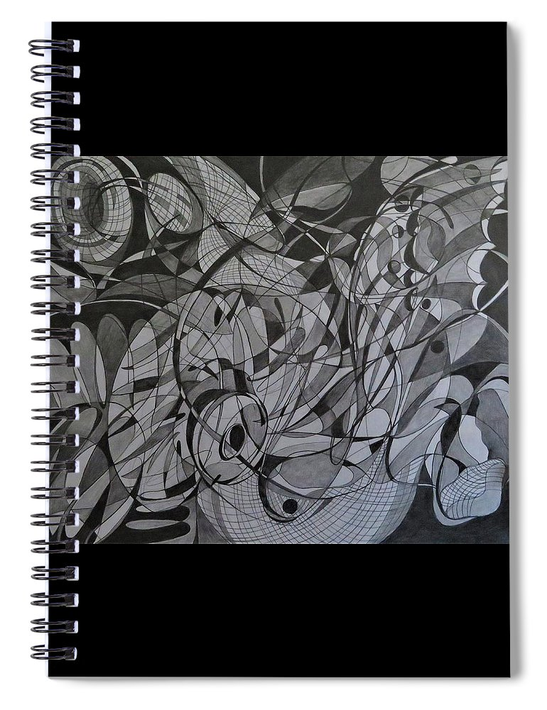 Line Abstract Spiral Notebook featuring the drawing Butterfly Effect by Natalia Leigh