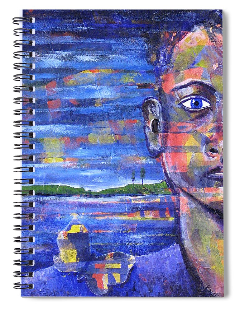 Face Spiral Notebook featuring the painting Butterfly On My Shoulder by Rollin Kocsis