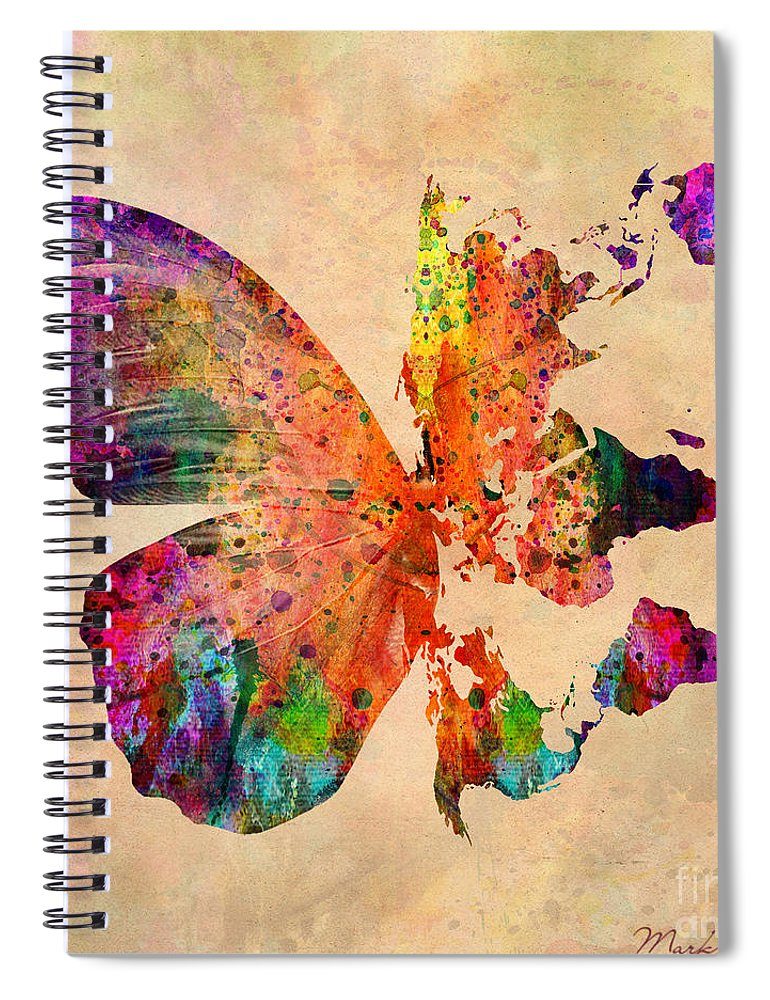 Butterfly World Map Spiral Notebook For Sale By Mark Ashkenazi