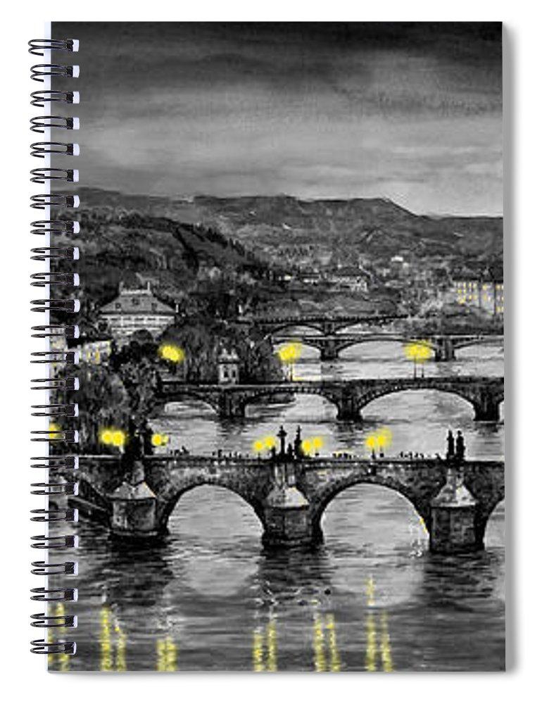 Prague Spiral Notebook featuring the painting BW Prague Bridges by Yuriy Shevchuk