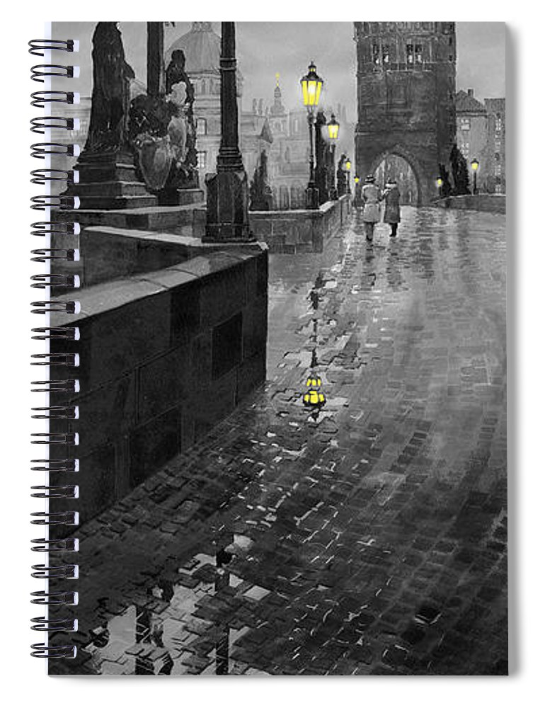 Prague Spiral Notebook featuring the painting BW Prague Charles Bridge 01 by Yuriy Shevchuk