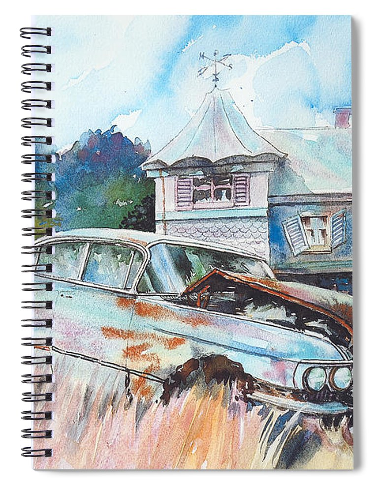 Cadillac Spiral Notebook featuring the painting Caddy Sliding Down the Slope by Ron Morrison