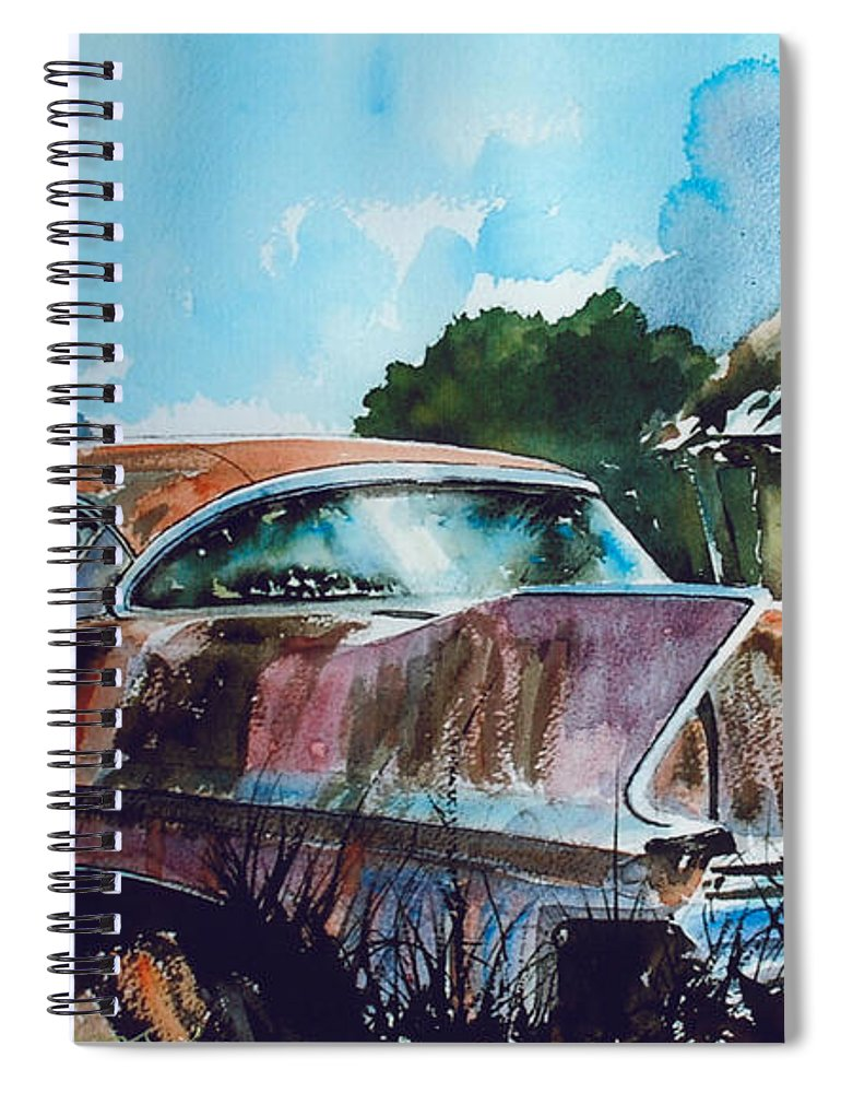 Caddy Spiral Notebook featuring the painting Caddy Subsiding by Ron Morrison