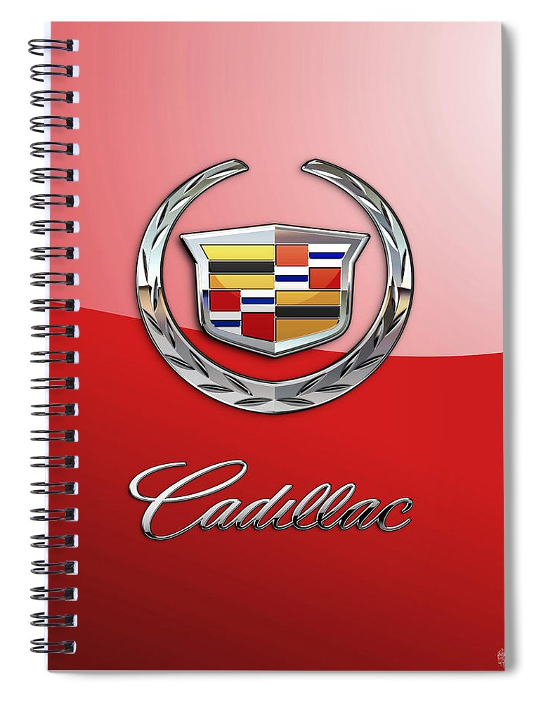 �wheels Of Fortune� Collection By Serge Averbukh Spiral Notebook featuring the photograph Cadillac - 3 D Badge on Red by Serge Averbukh