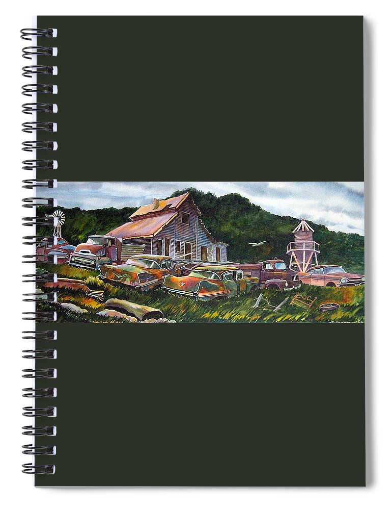 Cadillacs Spiral Notebook featuring the painting Cadillac Ranch by Ron Morrison