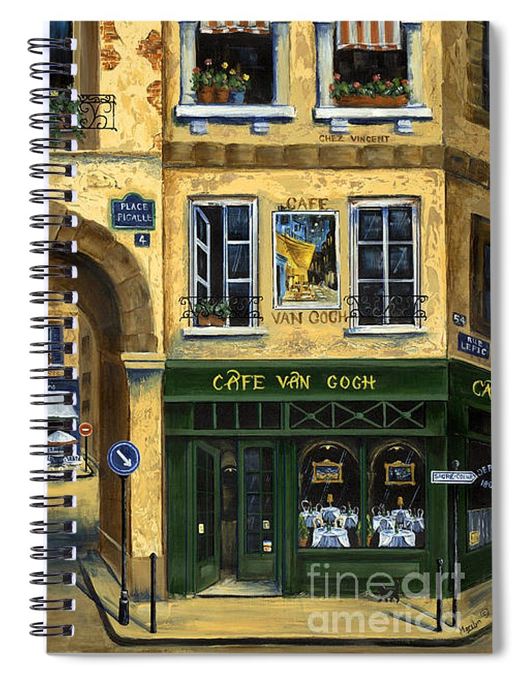 Europe Spiral Notebook featuring the painting Cafe Van Gogh Paris by Marilyn Dunlap