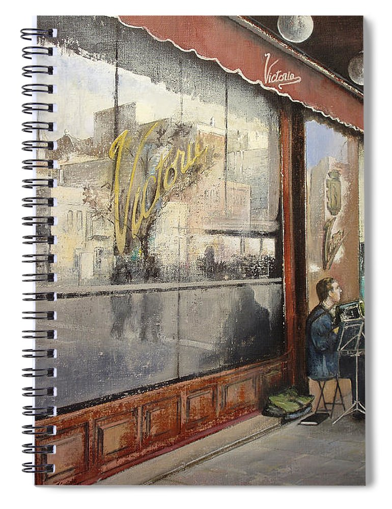 Cafe Spiral Notebook featuring the painting Cafe Victoria by Tomas Castano
