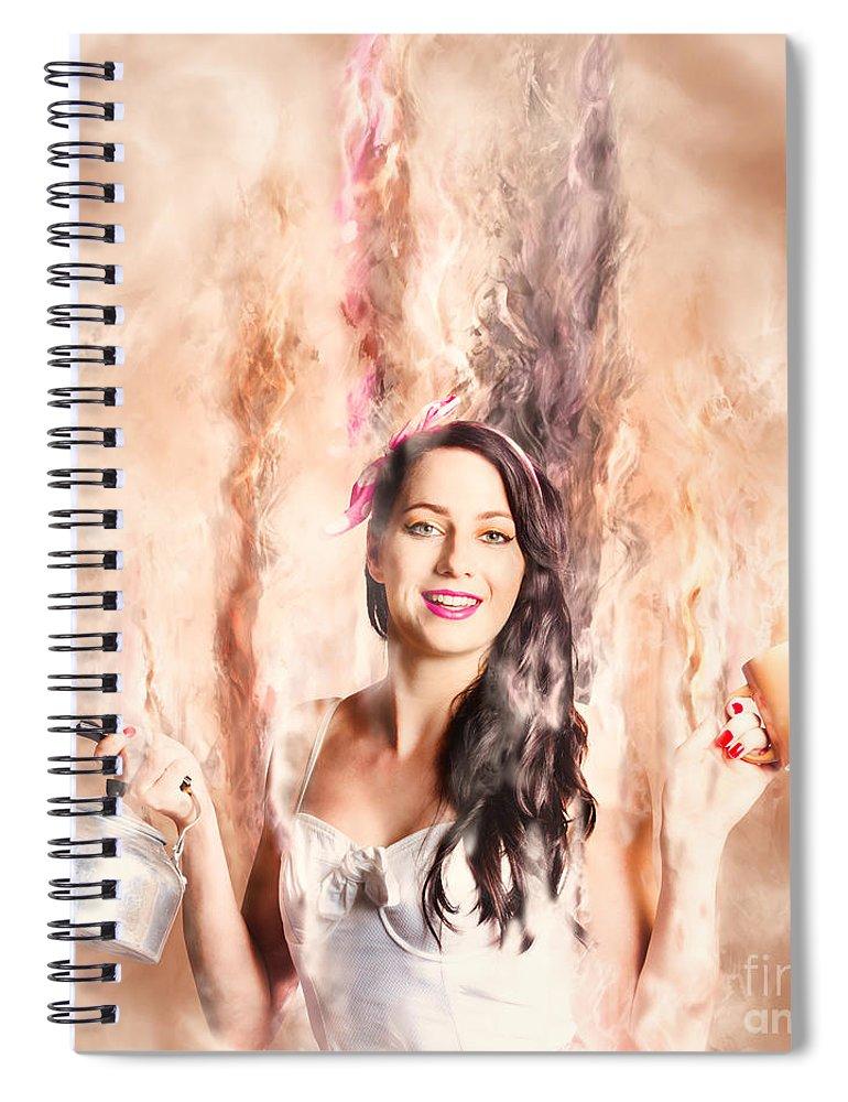 Imagine Spiral Notebook featuring the photograph Caffeine High Pin Up Girl by Jorgo Photography - Wall Art Gallery