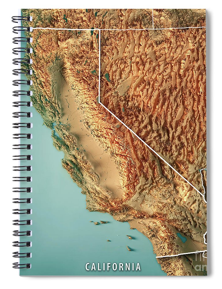 California State Usa 3d Render Topographic Map Border Spiral