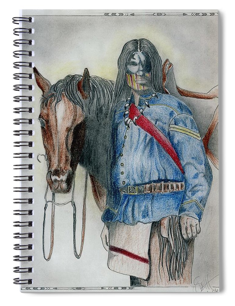 American Spiral Notebook featuring the drawing Calvary Scout by Jimmy Smith