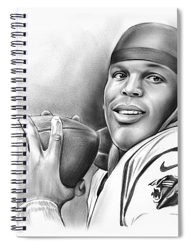 Cam Newton Spiral Notebook featuring the drawing Cam Newton by Greg Joens
