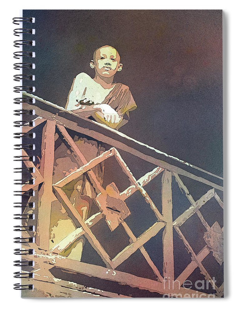 Art For House Spiral Notebook featuring the painting Cambodian Monk by Ryan Fox