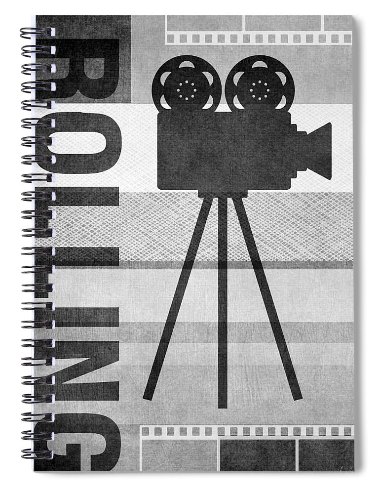 Movie Spiral Notebook featuring the mixed media Cameras Rolling- Art By Linda Woods by Linda Woods