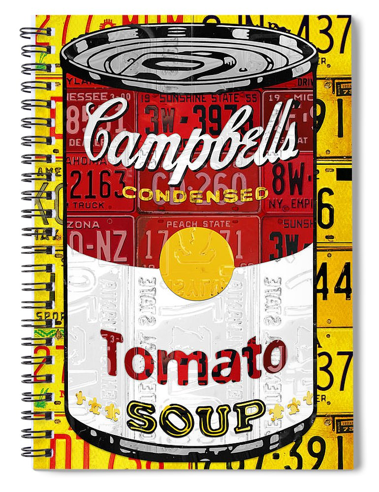 Campbells Spiral Notebook featuring the mixed media Campbells Tomato Soup Can Recycled License Plate Art by Design Turnpike