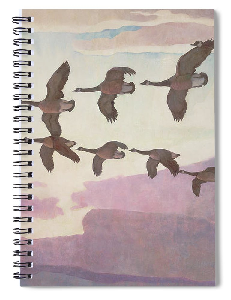 Geese Spiral Notebook featuring the painting Canada Geese In Spring by Newell Convers Wyeth