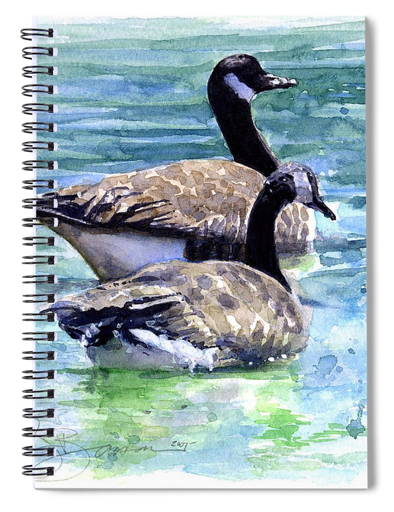 Canada Spiral Notebook featuring the painting Canada Geese by John D Benson