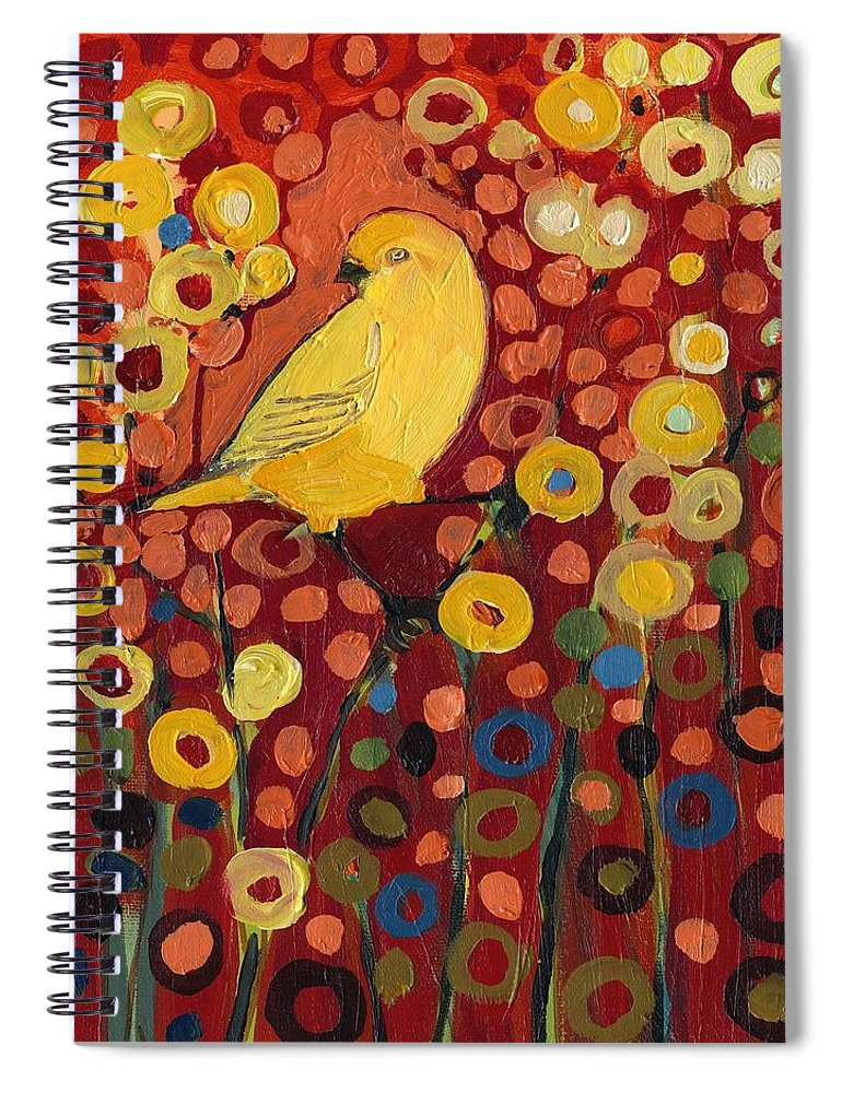 Canary Spiral Notebook featuring the painting Canary in Red by Jennifer Lommers