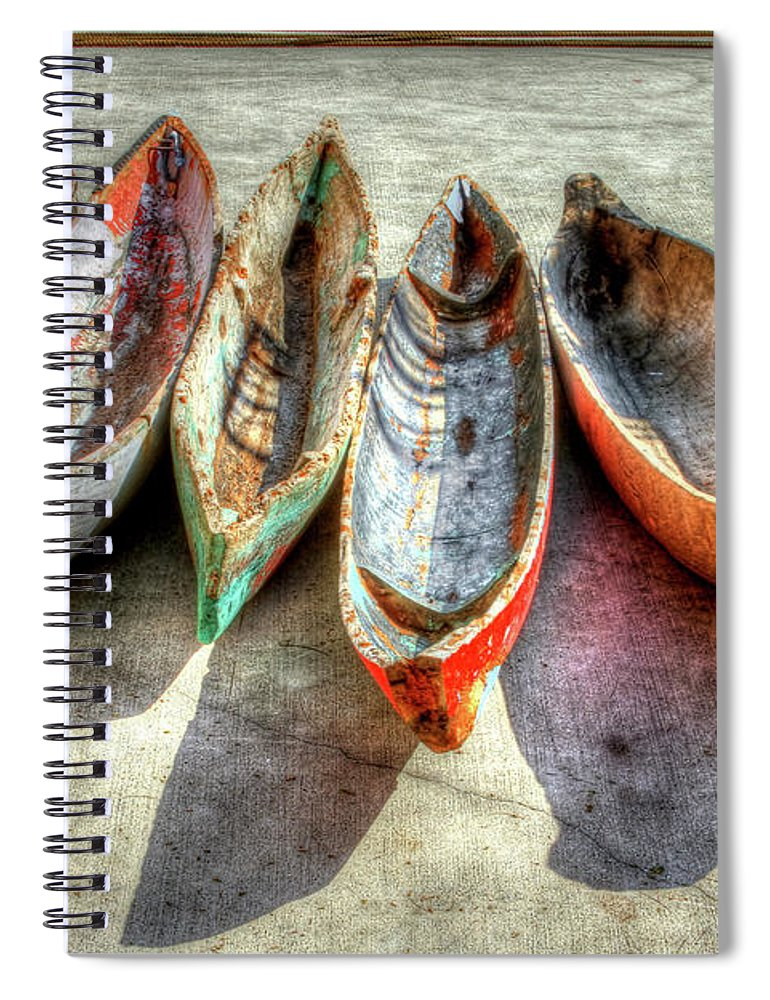 The Spiral Notebook featuring the photograph Canoes by Debra and Dave Vanderlaan