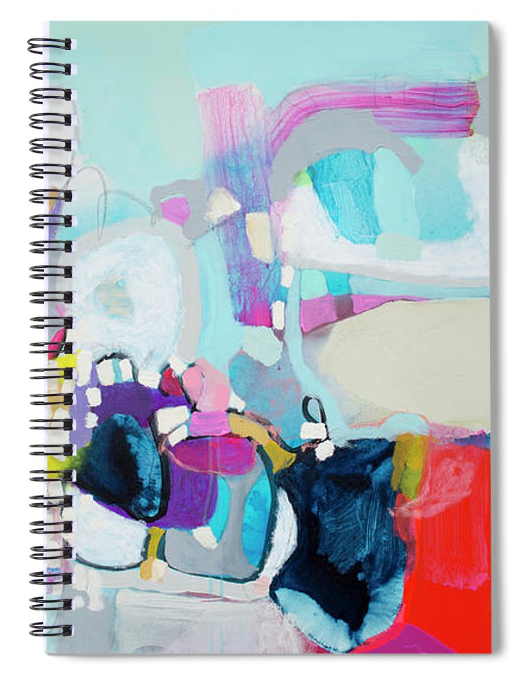 Abstract Spiral Notebook featuring the painting Can't Wait by Claire Desjardins