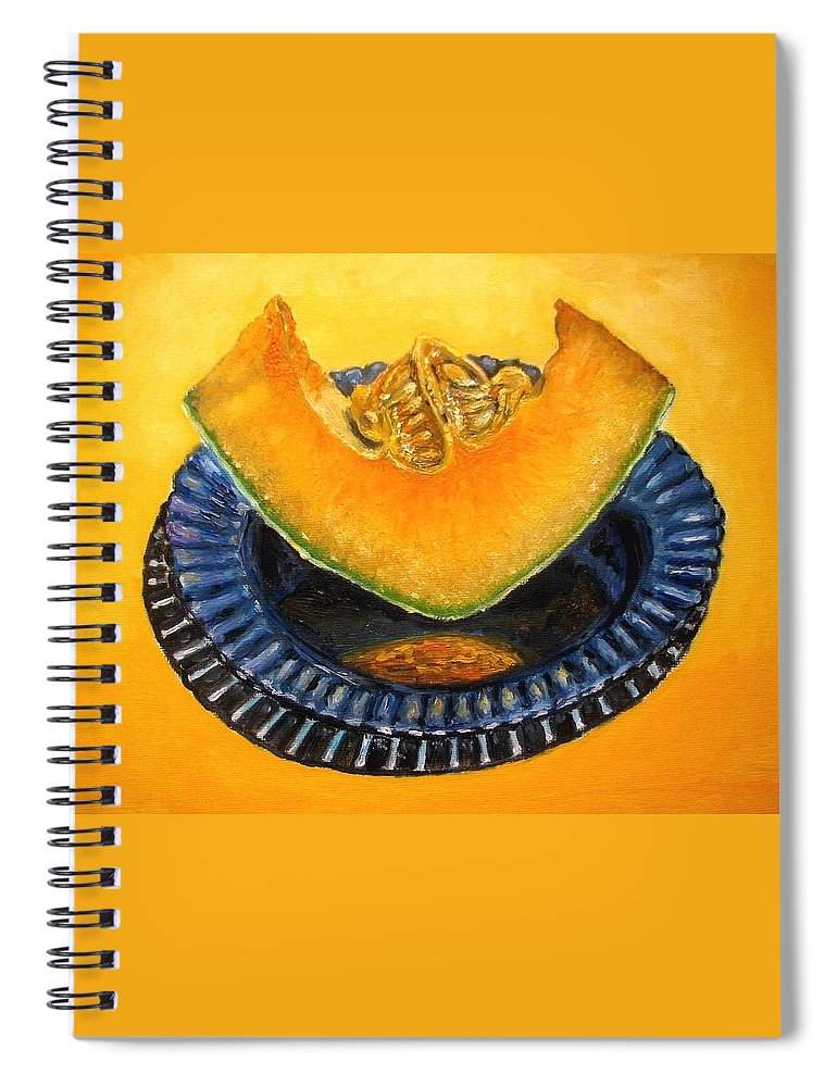 Cantaloupe Spiral Notebook featuring the painting Cantaloupe Oil Painting by Natalja Picugina