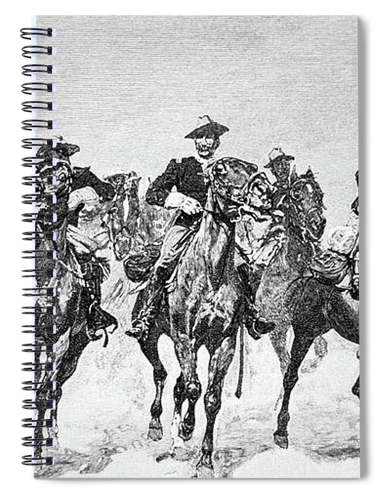 Remington Spiral Notebook featuring the drawing Captain Dodge's Troopers To The Rescue by Frederic Remington