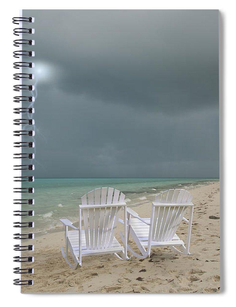 Adirondack Spiral Notebook featuring the digital art Caribbean Adirondacks by Betsy Knapp