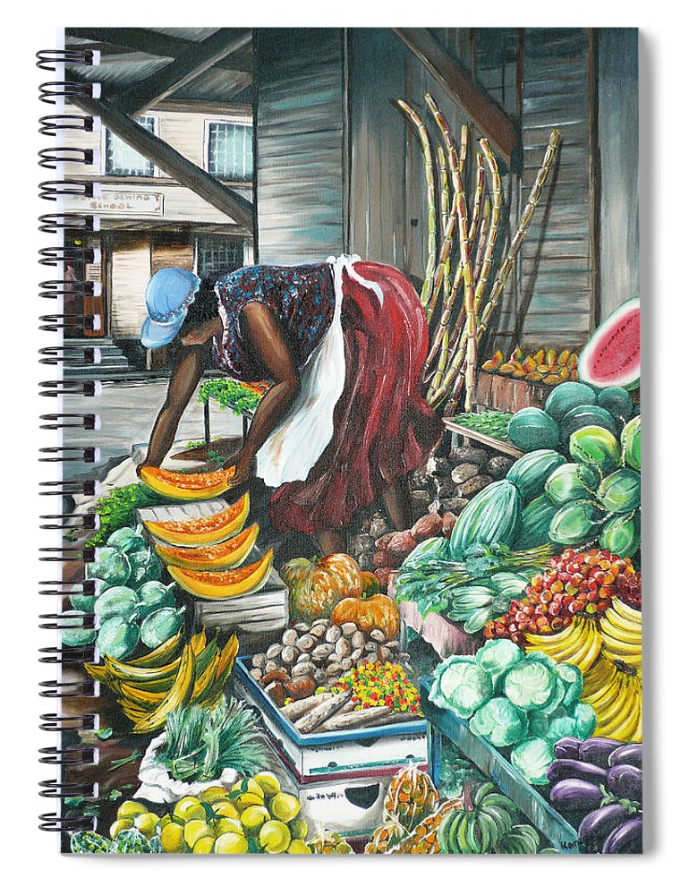 Caribbean Painting Market Vendor Painting Caribbean Market Painting Fruit Painting Vegetable Painting Woman Painting Tropical Painting City Scape Trinidad And Tobago Painting Typical Roadside Market Vendor In Trinidad Spiral Notebook featuring the painting Caribbean Market Day by Karin Dawn Kelshall- Best