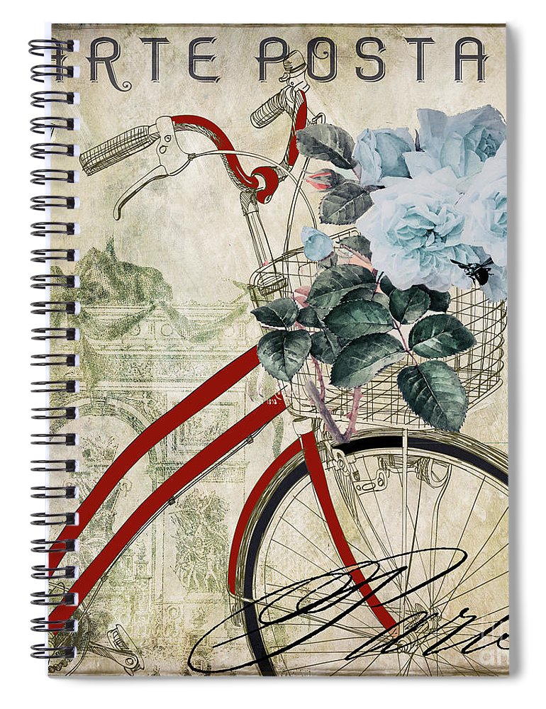 Bicycle Spiral Notebook featuring the painting Carte Postale Vintage Bicycle by Mindy Sommers