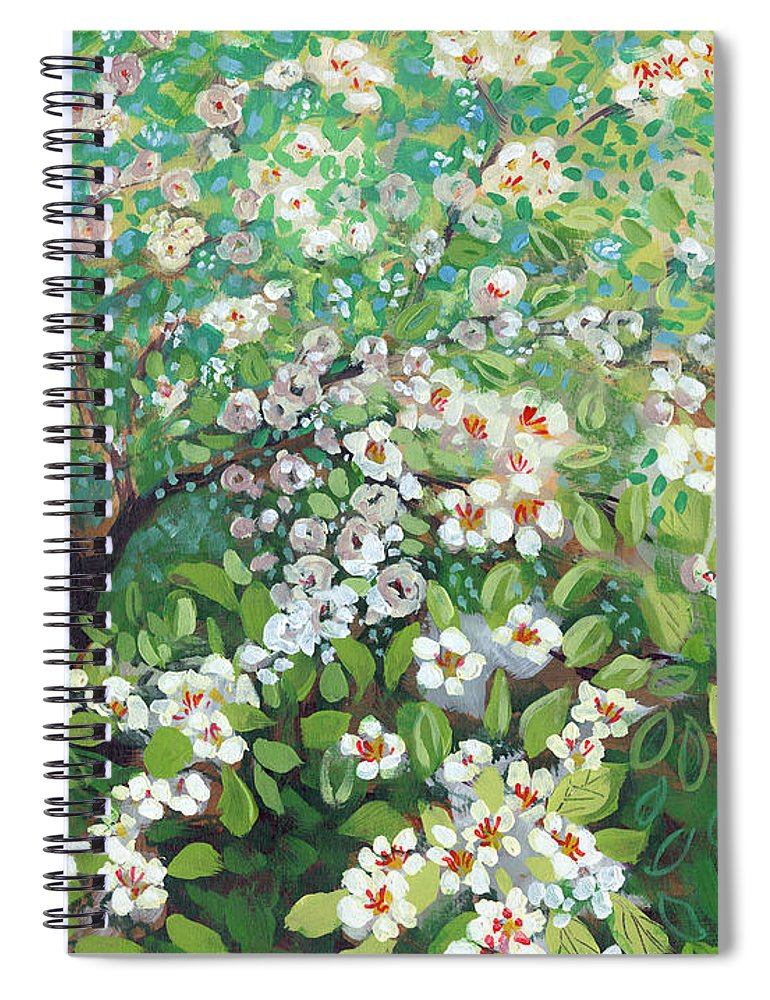 Landscape Spiral Notebook featuring the painting Cascading by Jennifer Lommers
