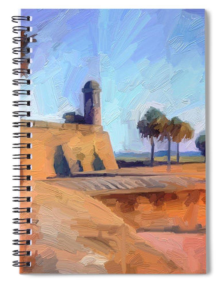 St. Augustine Spiral Notebook featuring the digital art Castillo Rampart by Scott Waters