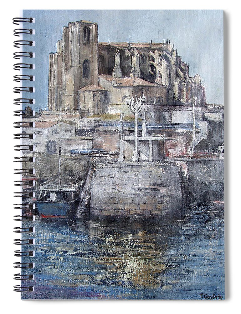 Castro Spiral Notebook featuring the painting Castro Urdiales by Tomas Castano