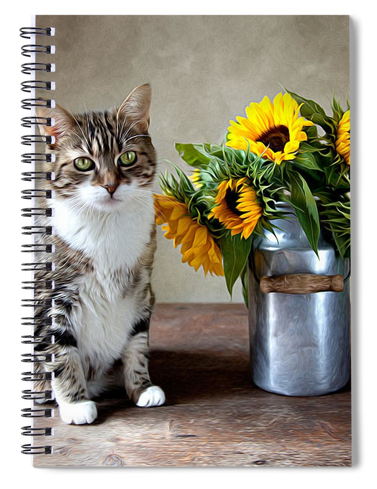 Cat Spiral Notebook featuring the painting Cat and Sunflowers by Nailia Schwarz