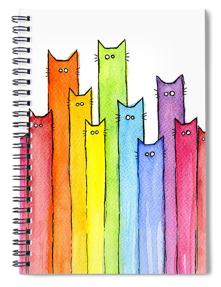 Cats Spiral Notebook featuring the painting Cat Rainbow Watercolor Pattern by Olga Shvartsur