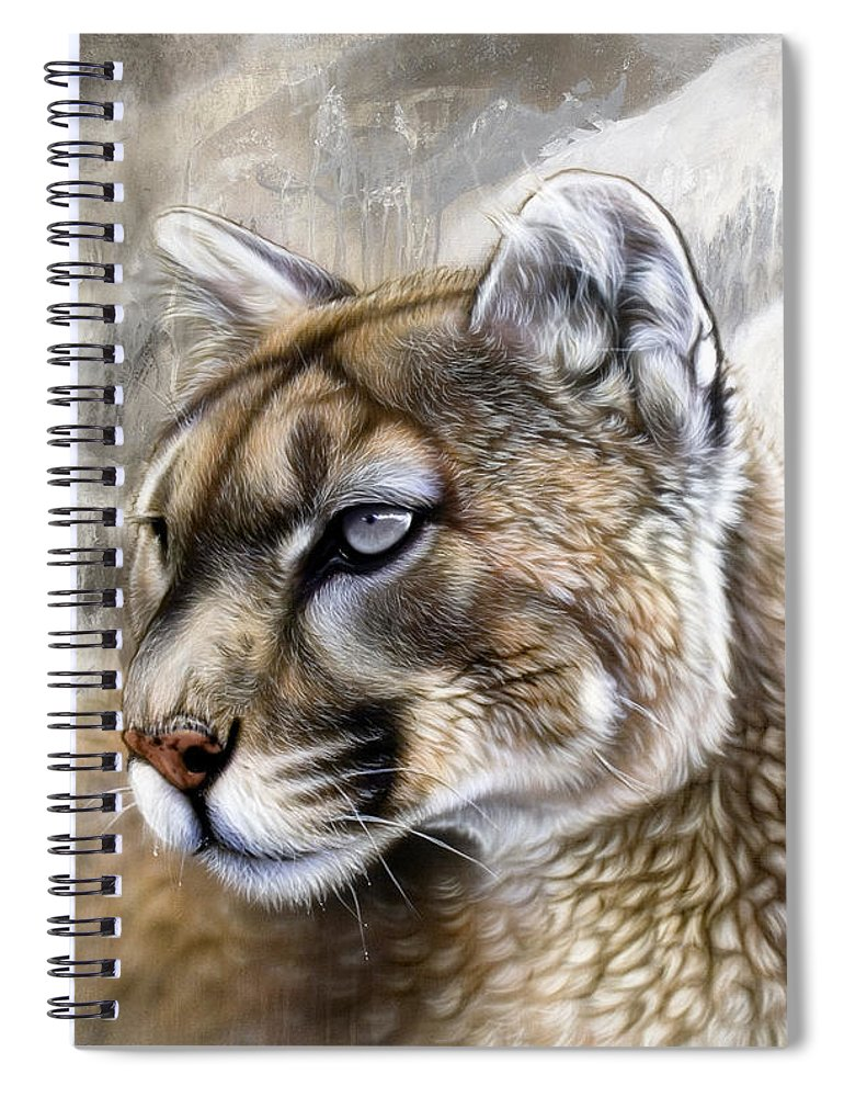 Acrylic Spiral Notebook featuring the painting Catamount by Sandi Baker