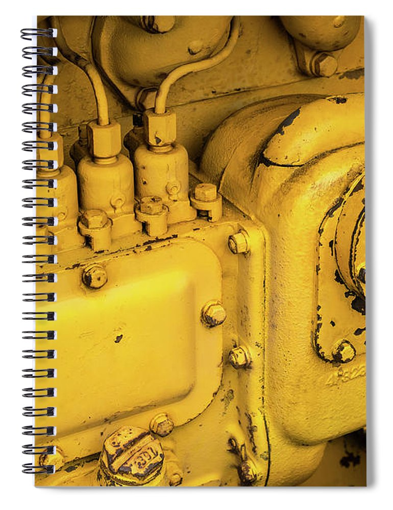 Yellow Spiral Notebook featuring the photograph Caterpillar D2 Bulldozer 06 by Rick Piper Photography