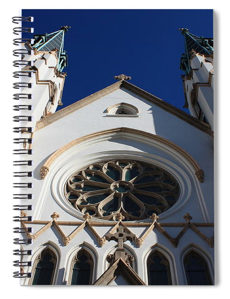 Cathedral Of St John The Babtist Spiral Notebook featuring the photograph Cathedral Of St John The Babtist In Savannah by Carol Groenen