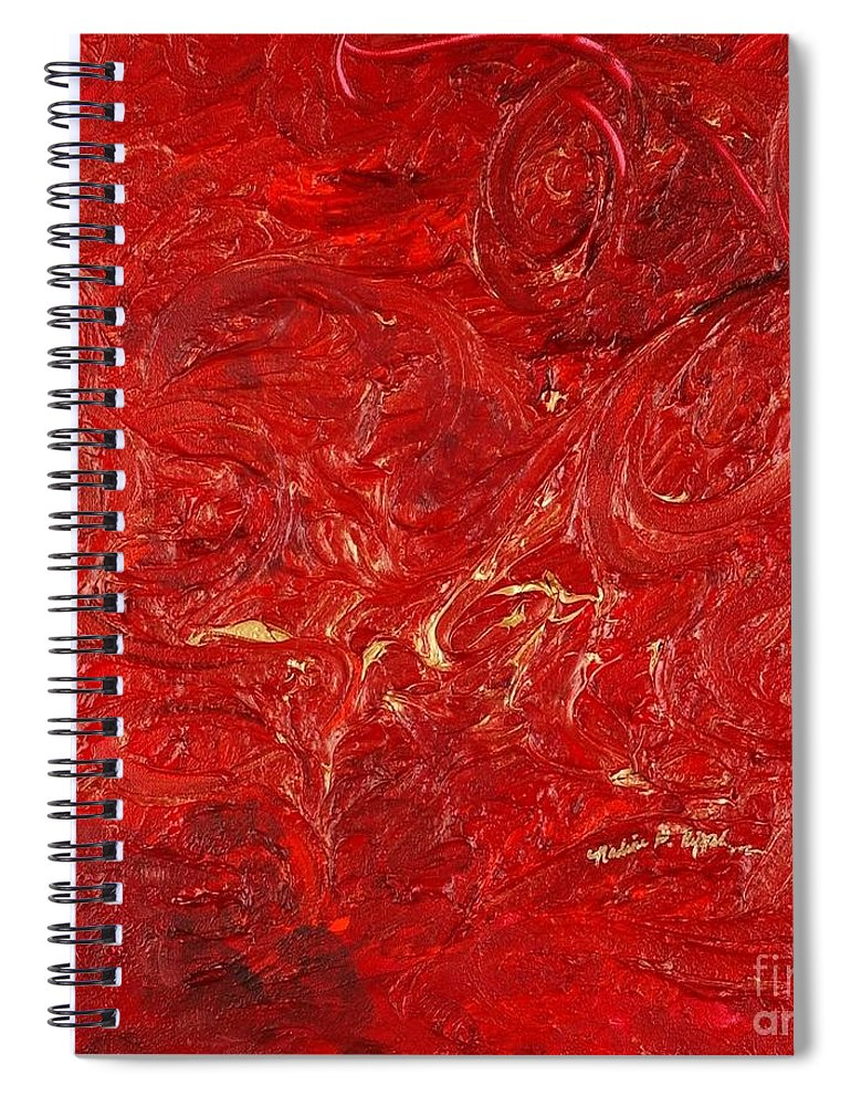 Red Spiral Notebook featuring the painting Celebration by Nadine Rippelmeyer