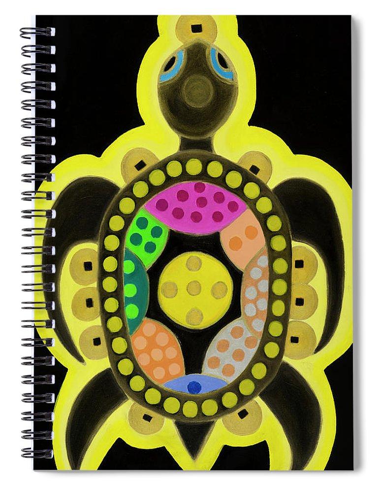 Celestial Black Turtle Spiral Notebook featuring the painting Celestial black turtle by Adamantini Feng shui