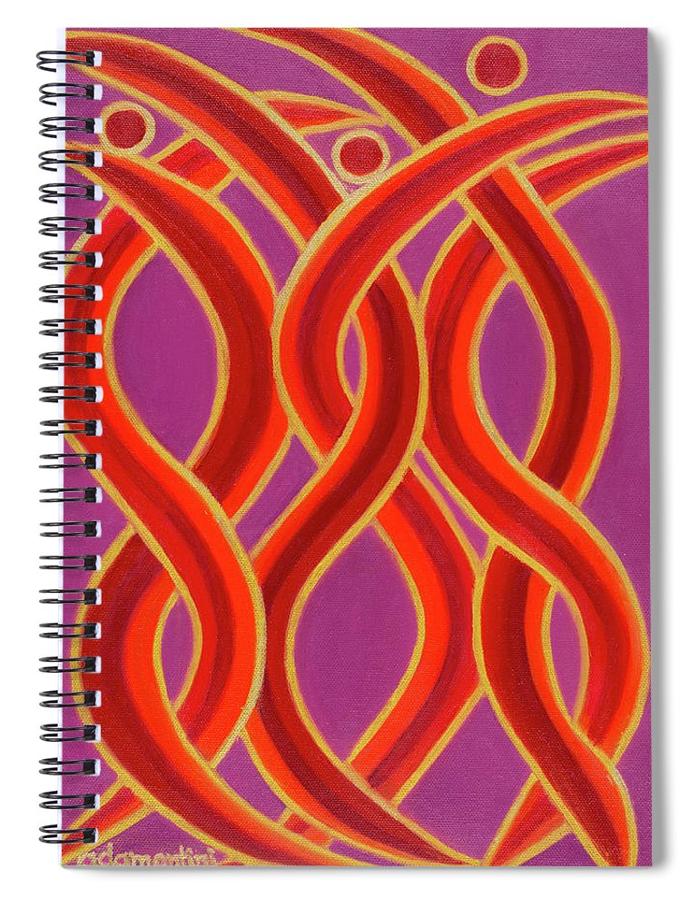 Celestial Fire Spiral Notebook featuring the painting Celestial Fire by Adamantini Feng shui