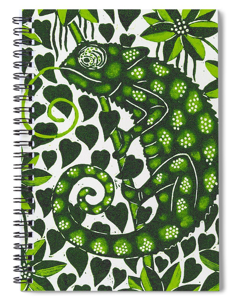 Chameleon Spiral Notebook featuring the painting Chameleon by Nat Morley